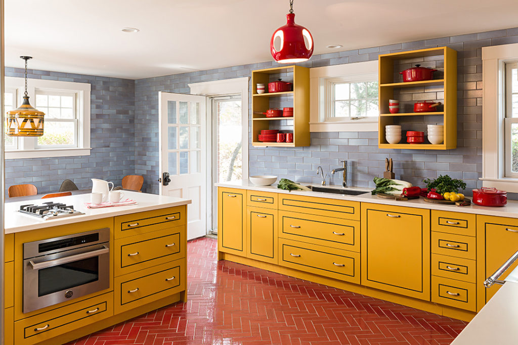 yellow and red european kitchen