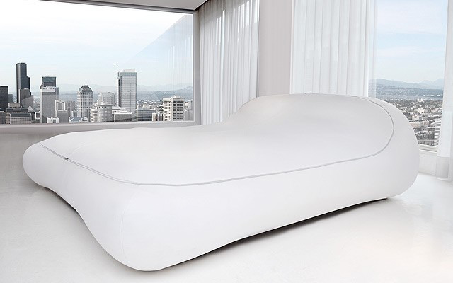 closed zipper bed with white covering