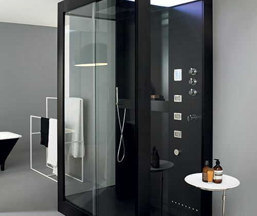 aliminum and glass contemporary shower