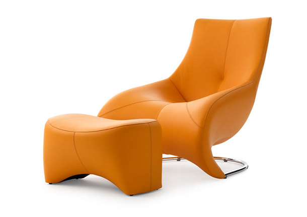 leather lounger chair and ottoman