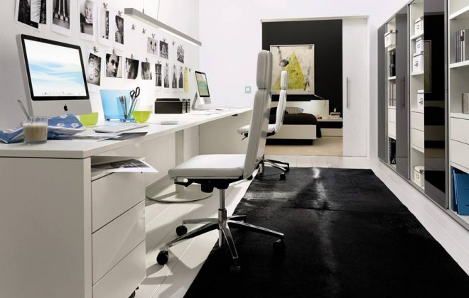 white laquer computer desk and office furniture