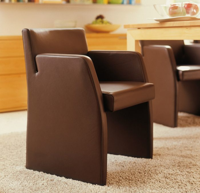 brown leather dinning room arm chair