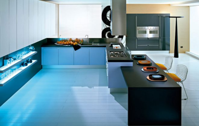 black laminate modern kitchen