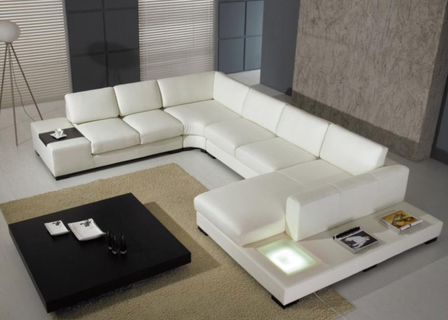 white modern leather sectional sofa couch