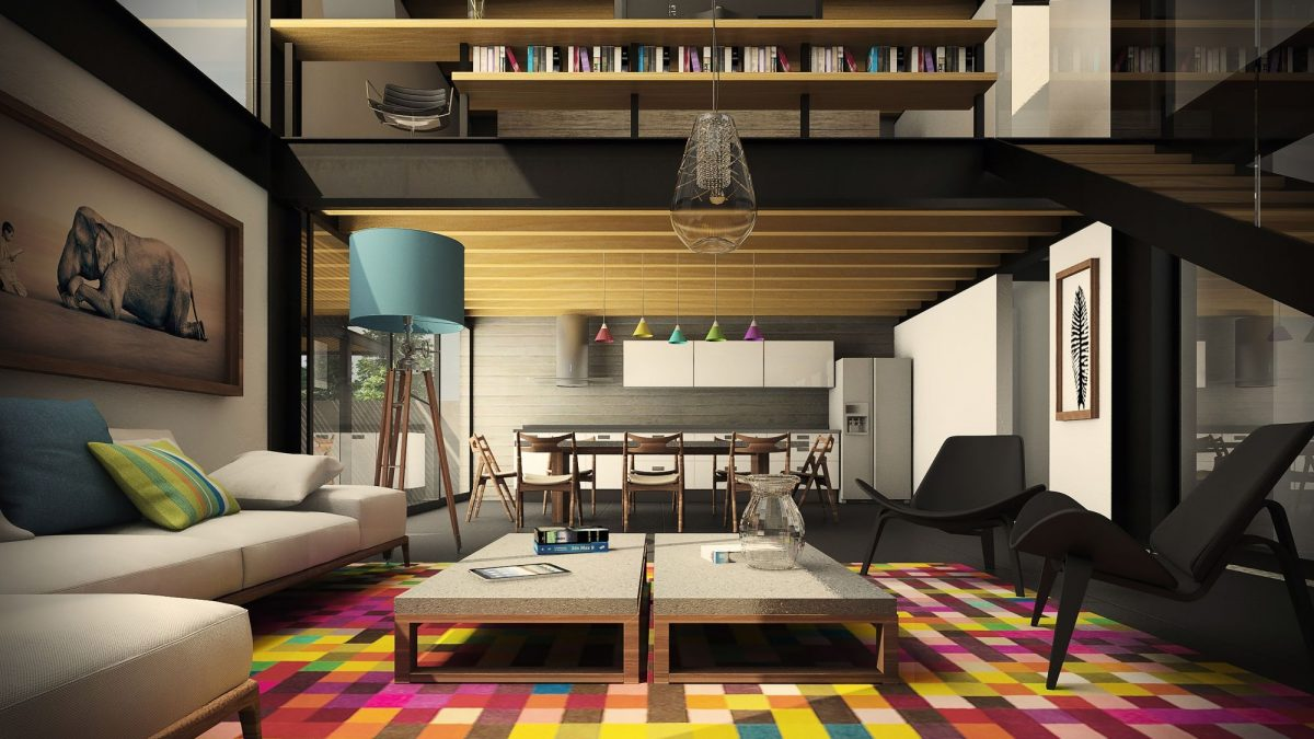 nuetral color open style living room with colorful rug